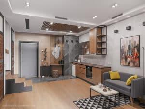 Дизайн первого уровня двухуровневой квартиры в Одессе