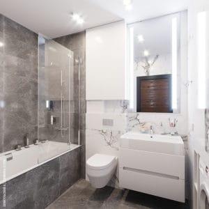 Дизайн интерьера ванной комнаты в серых тонах