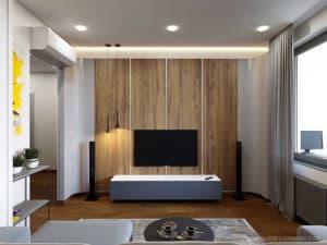 Дизайн интерьера гостиной в современном стиле в г. Одессе